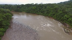 Aerial pan above the Rio Misahualli in the Ecuadorian Amazon Stock Footage