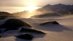 Wicked Blowing Snow and Sun Flare Low Angle Winter Warm Light HD Stock Footage