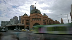 Melbourne Australia train station traffic time lapse Stock Footage