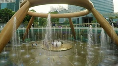 Singapore - 3 November 2016: Timelapse of Fountain of wealth in Singapore Stock Footage