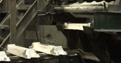 Aluminum plant. Conveyor with aluminum ingots Stock Footage