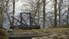 Old wooden catapult in forest mountain, Bastei, Germany Stock Footage