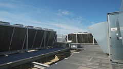 Large ventilation system installed on the roof of an industrial building Arkistovideo