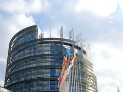 Parliament building Europe and all flags Stock Footage