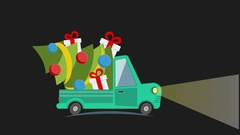 Delivery flat transport truck, van with gift box pack on black in xmas eve Stock Footage