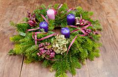 Christmas wreath advent wreath with copy space Stock Photos