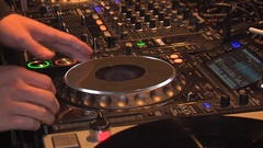 Professional Dj Makes Moves With Hands Playing mixing music Stock Footage