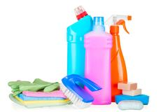 Bottles with cleaning agents for cleaning the house closeup isolated Stock Photos