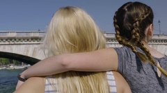 Young Women Go For A Ride On Tour Boat On River Seine In Paris, Enjoy View Stock Footage