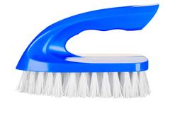 Blue a brush for cleaning close-up isolated on white background Stock Photos