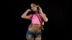 Hands sexy woman breasts body carress dancer Stock Footage