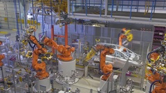 Industrial robots welded car body Arkistovideo