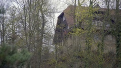 Hotel lodge house in the forest Stock Footage
