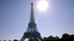 View Of Eiffel Tower, On Beautiful Sunny Summer Day, From Tour Boat Stock Footage