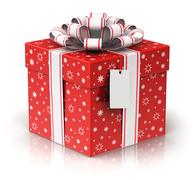 Gift or present box with ribbon bow and label tag Stock Illustration