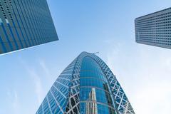 High-rise buildings and blue sky - Shinjuku, Tokyo Stock Photos