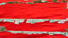Money hanging with red fabric background Stock Footage