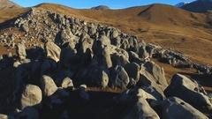 "Flight over rocky terrain ""Castle Hill"" Stock Footage"