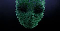 Digital animation of surreal alien heads Stock Footage