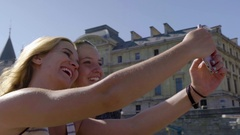 Young Women Take Cute Photos On Tour Boat On River Seine In Paris, France Stock Footage