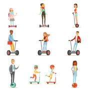 People Riding Electric Self-Balancing Battery Powered Personal Electric Scooters Stock Illustration