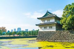 Beautiful Imperial palace building in Tokyo Stock Photos