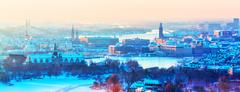 Winter aerial panorama of Stockholm, Sweden Stock Photos