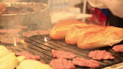 Grilled meatballs with bread Stock Footage