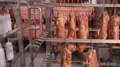 Food storage, warehouse. Meat products, sausages hanging on racks in a meat Stock Footage