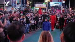 New York City, USA -: The evening show for the crowd in Times Stock Footage