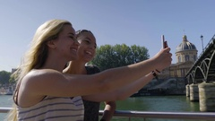 Friends Take Cute Selfies Together On Boat Ride Through Paris, Look At Photos Stock Footage