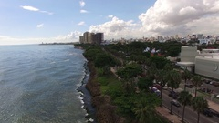 Santo Domingo shore line aerial on sunny day Stock Footage