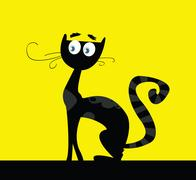 New stylish Cute Cat / black and yellow Piirros