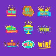 Win Congratulations Stickers Assortment Of Comic Designs For Video Game Winning Stock Illustration