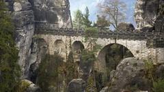 Bastei bridge, mountain rock formations, forest, Germany Stock Footage