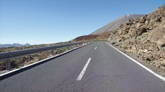Driving a car in Teide National Park, Tenerife, Canary Islands, Spain. Stock Footage