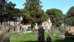 Scotland Highlands county of Sutherland Dornoch graveyard of village Stock Footage
