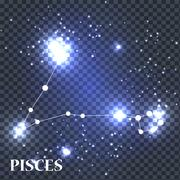 Symbol Pisces Zodiac Sign. Vector Illustration Stock Illustration