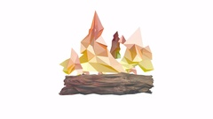 Low poly fireplace with paper flames on white background. Stock Footage