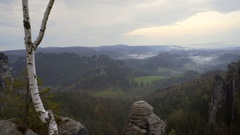 Breathtaking view of green forest hills, fog mist, Saxon Switzerland, Germany Stock Footage