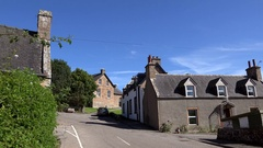 Scotland Highlands county of Sutherland village Dornoch British houses street Stock Footage