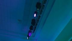 Concert lighting equipment in work. Professional lighting projectors Stock Footage
