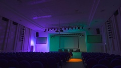 Work of lighting equipment is checked before the start of a large concert in Stock Footage