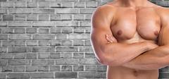Bodybuilder bodybuilding flexing chest muscles posing copyspace copy space .. Stock Photos