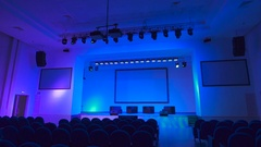 Empty concert hall which employs a large number of professional stage lighting Stock Footage