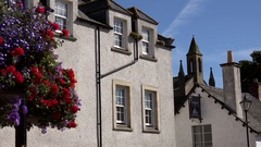 Scotland Highlands Sutherland Dornoch houses and blooming flowers Stock Footage