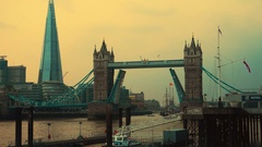 Tower Bridge opening its lifts to a large clipper in London, England, UK Stock Footage