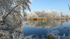 Hoarfrost landscape at Havel river (Havelland, Brandenburg - Germany).  Stock Footage