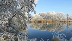 Rime frost landscape at Havel river (Havelland, Brandenburg - Germany).  Stock Footage