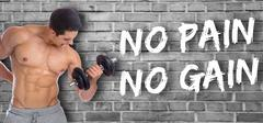 Bodybuilder bodybuilding muscles no pain no gain body builder building powe.. Stock Photos